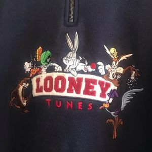 Warner Bros. Shirts - *VINTAGE* Navy Looney Tunes Quarter Zip Sweatshirt